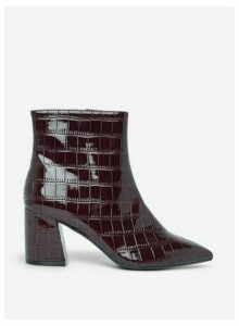 Womens Burgundy 'Anica' Crocodile Design Boots- Red, Red