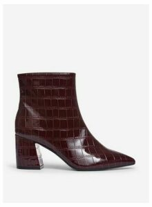Womens Wide Fit Burgundy 'Anica' Crocodile Design Boots- Red, Red