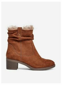 Womens Wide Fit Brown 'Moscow' Ruched Boots, Brown