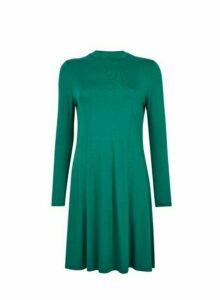 Womens Green High Neck Swing Dress, Green