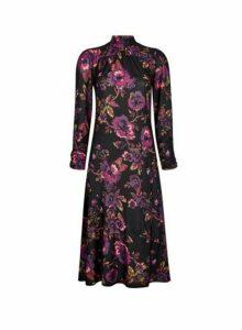 Womens Purple High Neck Midi Dress, Purple