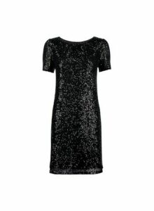 Womens Black Sequin Puff Sleeve Shift Dress, Black