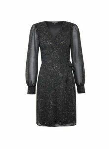 Womens Black Chiffon Wrap Mini Dress, Black