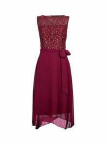 Womens **Billie & Blossom Mulberry Lace Hanky Hem Dres- Pink, Pink