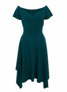 Womens *Quiz Green Bardot Wrap Dress, Green