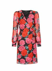 Womens Multi Colour Floral Print Wrap Mini Dress - Red, Red
