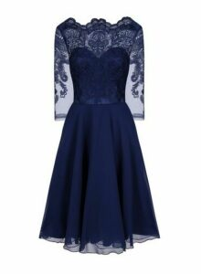 Womens Chi Chi London Navy Embroidered Midi Dress - Blue, Blue