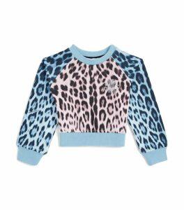 Leopard Print Cropped Sweatshirt