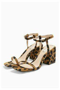 Womens Nora Leopard Print Square Block Heels - True Leopard, True Leopard