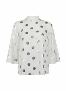 Womens Ivory And Silver Foil Spot ¾ Sleeve Top- White, White