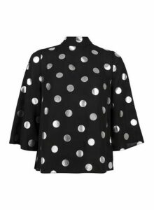 Womens Black And Silver Foil Spot ¾ Sleeve Top, Black