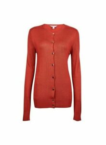 Womens Tall Rust Core Button Cardigan - Red, Red