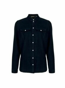 Womens Navy Corduroy Shirt- Blue, Blue