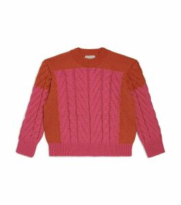 Colour-Block Cable-Knit Sweater