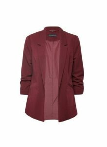 Womens Damson Ruched Sleeve Jacket- Purple, Purple