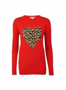 Womens **Tall Red Heart Leopard Print Jumper- Red, Red