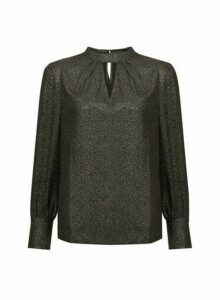 Womens Gold Glitter Honey Long Sleeve Top- Black, Black