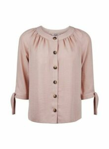 Womens Petite Rose Round Neck Top- Pink, Pink