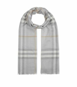 Wool and Silk Check Scarf
