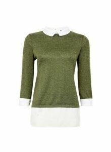 Womens Khaki 3/4 Sleeve 2-In-1 Top- Green, Green