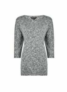 Womens Grey V-Neck Brushed Jumper, Grey