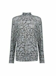 Womens Grey Crackle Print Funnel Neck Batwing Sleeve Top, Grey