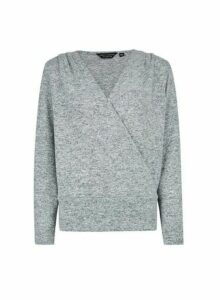 Womens Grey Brushed Wrap Front Jumper, Grey