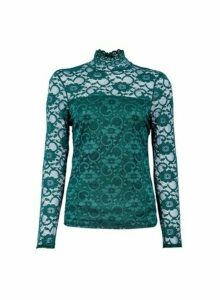Womens **Forest Green High Neck Top, Green
