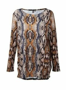 Womens *Izabel London Brown Snake Print Top, Brown