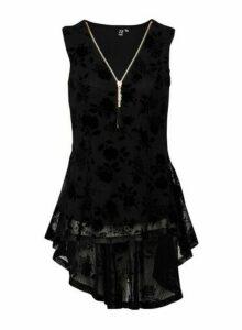 Womens *Izabel London Black Floral Embossed Top, Black