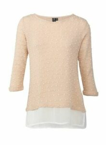 Womens *Izabel London Pink Dotty Knitted Jumper, Pink