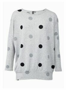 Womens *Izabel London Grey Polka Dot Knitted Jumper, Grey