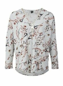 Womens *Izabel London Grey Forest Print Zip Neck Top, Grey