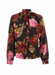 Womens *Quiz Black Satin Floral Print Peplum Top, Black