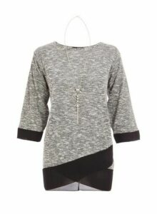 Womens *Quiz Grey And Black Light Knit Contrast Hem Top, Grey