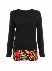 Womens *Quiz Light Knit Mixed Animal Print Top- Black, Black