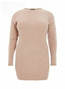 Womens *Quiz Cold Shoulder Diamante Jumper - Brown, Brown