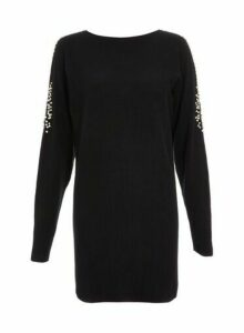 Womens *Quiz Cold Shoulder Diamante Jumper- Black, Black