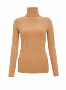 Womens *Quiz Camel Ribbed Turtle Neck Top- White, White