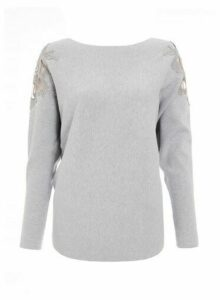 Womens Quiz Grey Crochet Shoulder Jumper, Grey