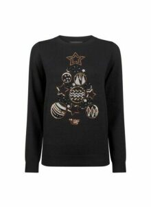 Womens Black Sequin Christmas Tree Print Jumper, Black