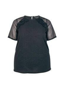 Womens Dp Curve Black Raglan Top, Black