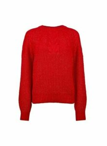 Womens Red Cable Yoke Jumper- Red, Red