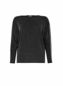 Womens Silver Sequin Trim Batwing Top- Black, Black