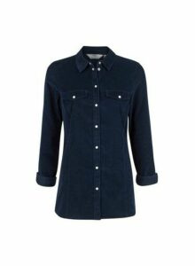 Womens **Tall Navy Corduroy Shirt- Blue, Blue
