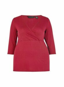 Womens **Dp Curve Oxblood Wrap Top- Red, Red