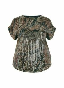 Womens Dp Curve Brown Sequin Tee, Brown