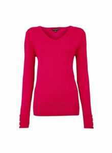 Womens Pink V-Neck Button Cuff Jumper, Pink