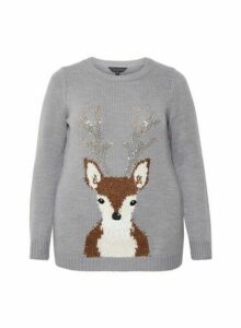 Womens **Dp Curve Grey Christmas Jumper With Reindeer Detail- Grey, Grey
