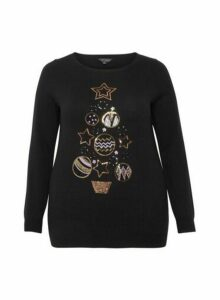 Womens **Dp Curve Black Sequin Bauble Jumper, Black